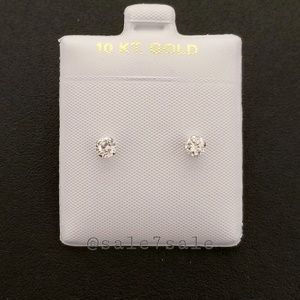 10K Gold Solid Real 10KT 4mm CZ Earrings